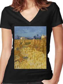 Vincent Van Gogh  - Corn Harvest in Provence, 1888 Women's Fitted V-Neck T-Shirt