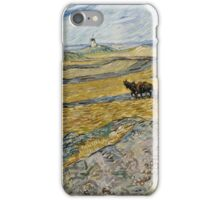 Vincent Van Gogh  - Enclosed Field with Ploughman, 1889 iPhone Case/Skin