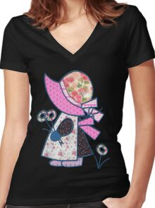 Cute and pretty patchwork sunbonnet Women's Fitted V-Neck T-Shirt