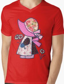 Cute and pretty patchwork sunbonnet Mens V-Neck T-Shirt