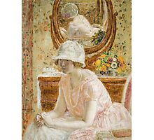 Vintage famous art - Frederick Carl Frieseke - Young Girl Before A Mirror In A Pink Dress Photographic Print