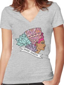 Nefertiti Cleopatra Egyptian lotus beyonce glitter yas yaass queen broad city girly print Women's Fitted V-Neck T-Shirt