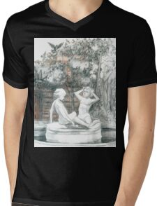 the city fountain with figurines of girls  Mens V-Neck T-Shirt