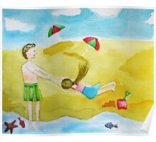 Fun at the beach watercolor painting Poster