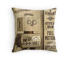 Fictional Vintage Robot Poster Throw Pillow