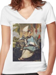 George Chinnery - Portrait Of A Girl Women's Fitted V-Neck T-Shirt