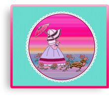 Sunbonnet  walking with dachshund love dogs Canvas Print