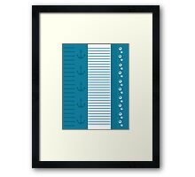 Trendy Nautical Blue and White Stripe Design Framed Print