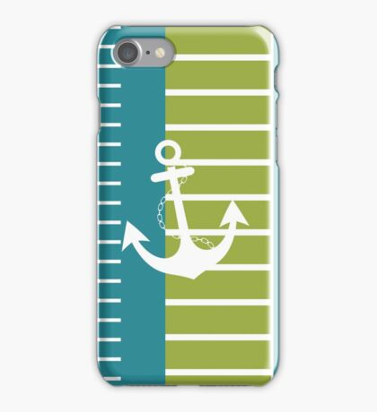 Turquoise Blue Green Stripe Nautical Design iPhone Case/Skin