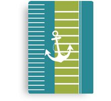 Turquoise Blue Green Stripe Nautical Design Canvas Print