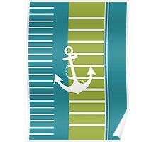 Turquoise Blue Green Stripe Nautical Design Poster