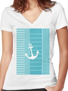 Trendy Nautical Blue and White Stripe Design Women's Fitted V-Neck T-Shirt