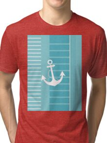 Trendy Nautical Blue and White Stripe Design Tri-blend T-Shirt