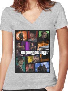 supernatural gta poster Women's Fitted V-Neck T-Shirt