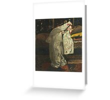 Vintage famous art - George Hendrik Breitner - Girl In White Kimono Greeting Card