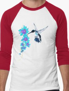 Humming Bird In Blue Men's Baseball ¾ T-Shirt