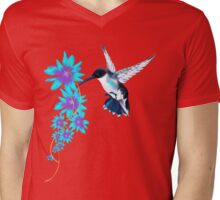 Humming Bird In Blue Mens V-Neck T-Shirt