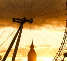 Framing the Sunset in London - the London Eye and Big Ben  Sticker