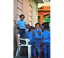 Little Dominican Girls Smiling Photographic Print
