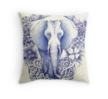 indian wondering blue elephant  Throw Pillow