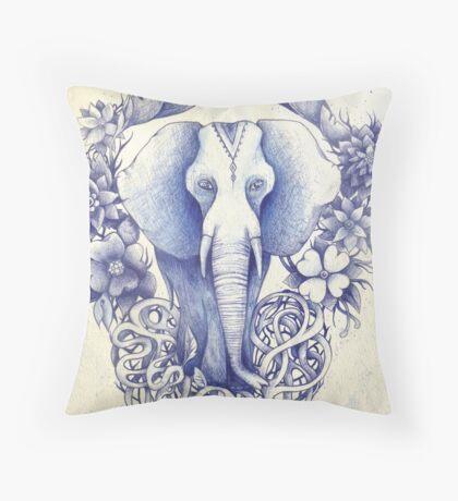 indian wondering blue elephant  Throw Pillow