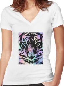 Watercolor Tiger Women's Fitted V-Neck T-Shirt