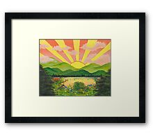 sun breaking through pink clouds Framed Print