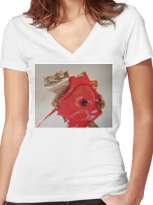 Inca and the Red Dragon Women's Fitted V-Neck T-Shirt