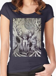 they danced under the light of the moon cat art Women's Fitted Scoop T-Shirt