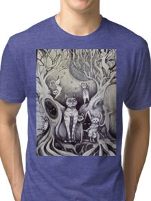 they danced under the light of the moon cat art Tri-blend T-Shirt