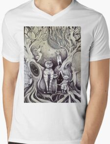 they danced under the light of the moon cat art Mens V-Neck T-Shirt