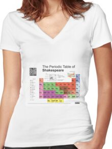 Periodic Table of Shakespeare Women's Fitted V-Neck T-Shirt
