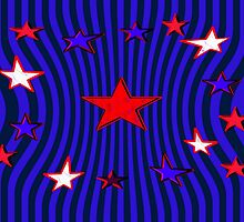 Patriotic Stars and Stripes Abstract by Donna Grayson