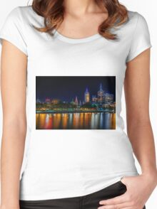 Melbourne at night reflection  Women's Fitted Scoop T-Shirt