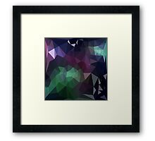 Green and Purple Abstract Crystalline Fractal  Framed Print