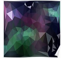 Green and Purple Abstract Crystalline Fractal  Poster