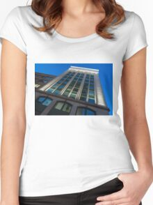City Night Walks – White, Green and Blue Facade Women's Fitted Scoop T-Shirt