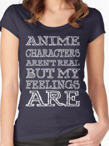 anime characters aren't real but my feelings are (white font) Women's Fitted Scoop T-Shirt