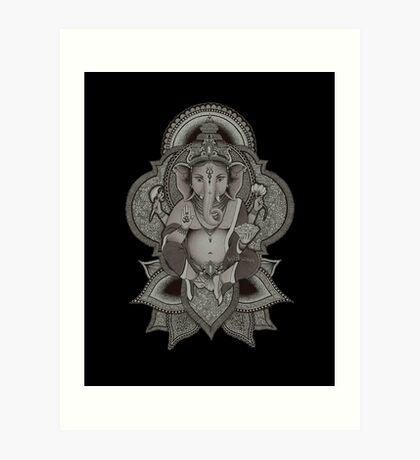 Ganesha - black Art Print