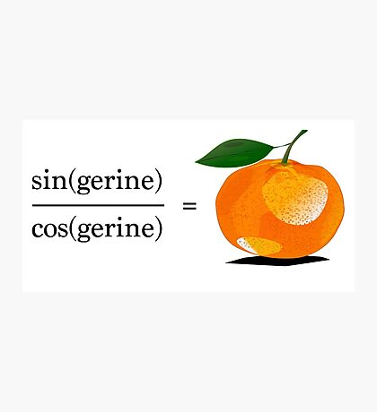 Maths Geek Joke - Tangerine Photographic Print