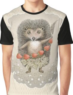 Animal Hedgehog Strawberry Graphic T-Shirt