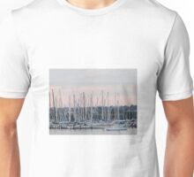 Masts against a Back-lit Sunset. Geelong Waterfront. Vic. Unisex T-Shirt