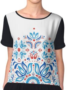 Folk Floral Tale in White Chiffon Top