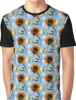 Backlit Sunflower and Bud Graphic T-Shirt