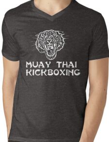Muay Thai Kickboxing Tiger Mens V-Neck T-Shirt