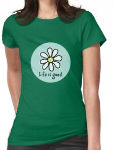 Life is Good Aqua Womens Fitted T-Shirt