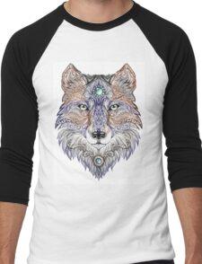 Head wolf wild beast of prey (color) Men's Baseball ¾ T-Shirt