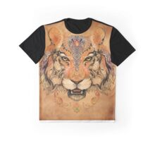 Head a tiger with floral ornaments (color fon) Graphic T-Shirt