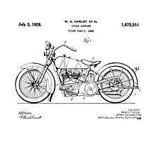 1928 Harley Davidson Motorcycle Patent Photographic Print