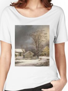 Vintage famous art - George Henry Durrie - Winter In The Country A Cold Morning Women's Relaxed Fit T-Shirt